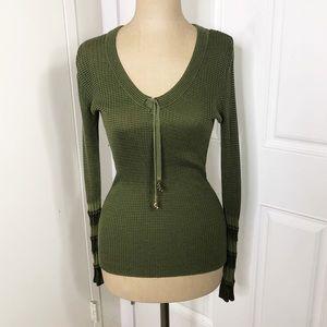 Cache Green Ribbed Tassel V Neck Long Sleeve Top